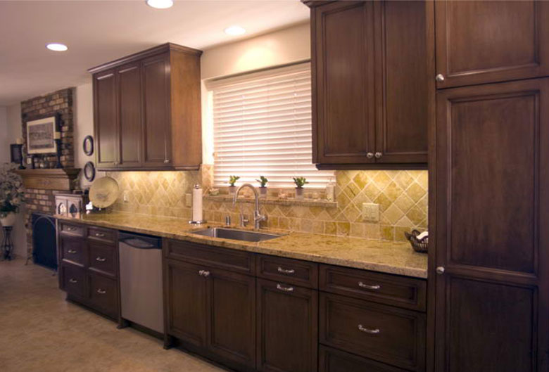 Maple Cabinetry Stained Wenge Giallo Ornamental Granite And Travertine  Backsplash